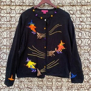 Vintage flying witches ugly Halloween sweater